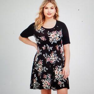 Torrid size 0 black floral raglin tee skater dress